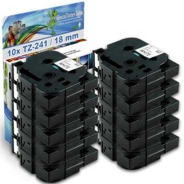 10x Schriftband-Kassetten für Brother TZ-241 TZE-241 Schwarz auf Weiß 8m/18mm new – Bild 1