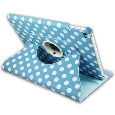 360°gepunktete Schutzhülle für iPad Air 2 iPad 6 Standfunktion Tasche Hell Blau
