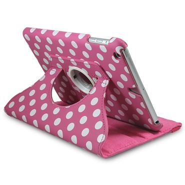 360° gepunktete Schutzhülle für iPad Mini 1 / 2 / 3 Standfunktion Tasche Pink – Bild 1