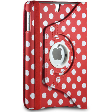 360° gepunktete Schutzhülle für iPad Mini 1 / 2 / 3 Standfunktion Tasche Rot – Bild 2