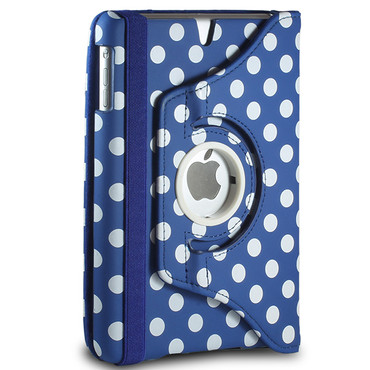 360° gepunktete Schutzhülle für iPad Mini 1 / 2 / 3 Stand Tasche Dunkel Blau – Bild 2