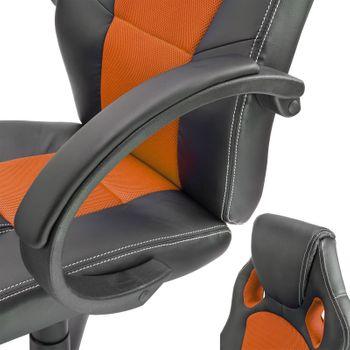 Bürostuhl Schreibtischstuhl Chefsessel Drehstuhl Bürosessel schwarz - orange – Bild 5