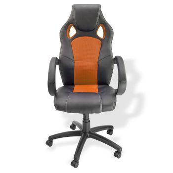 Bürostuhl Schreibtischstuhl Chefsessel Drehstuhl Bürosessel schwarz - orange – Bild 2
