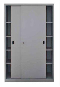 ADB Schiebetürenschrank Büroschrank - 4 Fachböden - 195 x 120 x 45 cm - RAL 7035