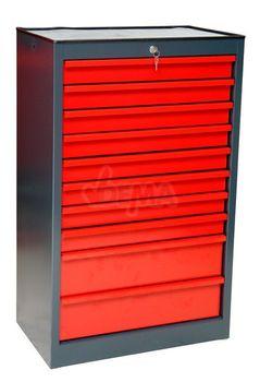 ADB Schubladenschrank mit 10 Schubladen, RAL7016/3000, 67,5 x 42,5 x 112 cm – Bild 2