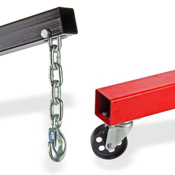 Werkstattkran 1 to Motorheber rot klappbar mit Kette und Sicherheitshaken – Bild 7