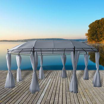 Metall Garten Pavillon Partyzelt Gartenpavillon Sonnenschutz 3.5x5.3m blau grau – Bild 2