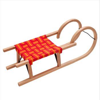 Hörnerrodel Rodel Schlitten Textilsitz 95 cm Holzschlitten Hörnerschlitten – Bild 1