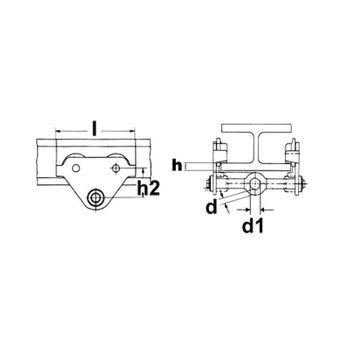 Laufkatze Schienenlaufkatze Handfahrwek Rollfahrwerk Seilwinde Kettenzug 1 t – Bild 7