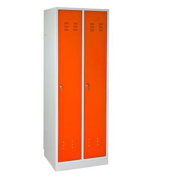 ADB Spind Umkleide Garderobenschrank 2 türig lichtgrau / orange Regular Metall