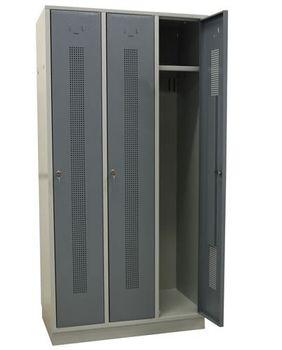 ADB Spind Garderobenschrank 3-türig Perfora, silbergrau, abschliessbar – Bild 1