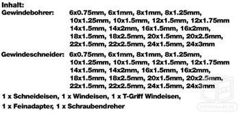 Gewindeschneidesatz Gewindeschneider Gewindebohrer Gewindewerkzeug 45tlg – Bild 2