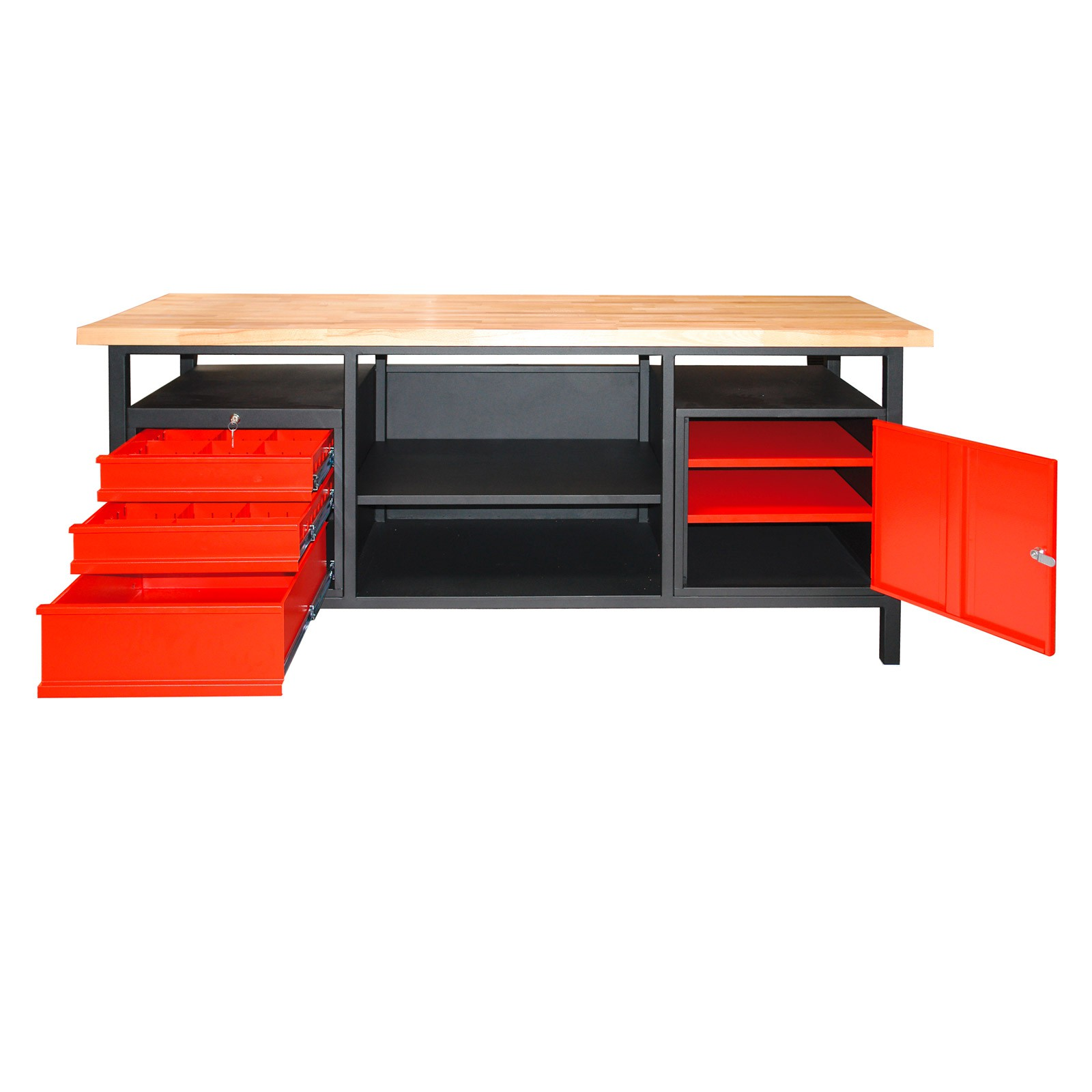 werkbank xxl werktisch werktischbank 3 schubladen 1 t r 200 x 68 x 85 cm 40892 ebay. Black Bedroom Furniture Sets. Home Design Ideas