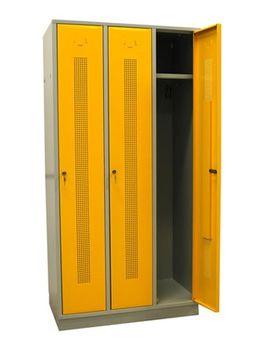ADB Metall - Spind | Garderobenschrank 3 trg. Perfora, lichtgrau / rapsgelb – Bild 1