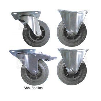 2 Bockrollen + 2 Lenkrollen mit Kunststofffelge 100 mm Spar Set – Bild 1
