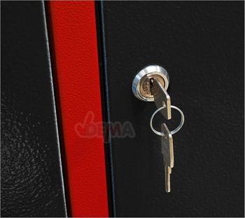 Spind Garderobenschrank Umkleideschrank Kleiderspind 4-türig rot / anthrazit – Bild 6