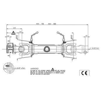 Gelenkwelle Zapfwelle Antriebswelle Kardanwelle Schlepper Traktor 35 PS 70-88 cm – Bild 7