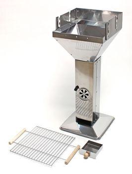 Säulengrill Grill im Edelstahl Design quadratisch 38x38x92 cm Mérida – Bild 3