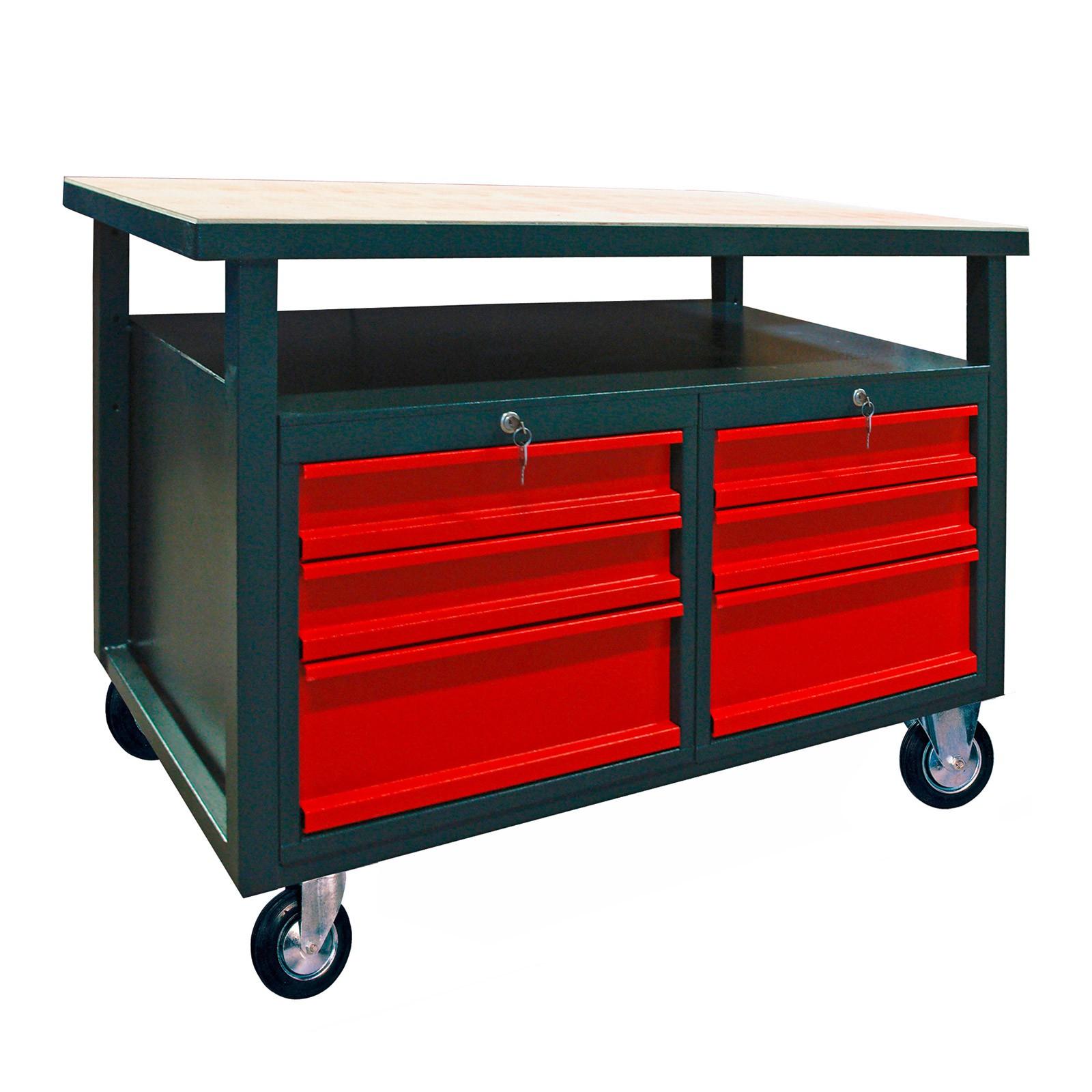 werkbank werktisch arbeitstisch werkstattwagen tisch mit rollen 6 schubladen. Black Bedroom Furniture Sets. Home Design Ideas