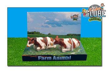 Van Manen Kids Globe 571876 Kuh Kühe rotbunt/weiß liegend 2 Stück – Bild 2