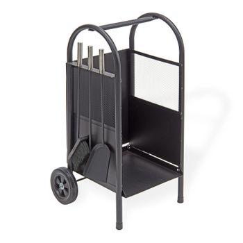 Brennholzwagen Holzwagen 100 inkl. Kaminbesteck 3teilig – Bild 1