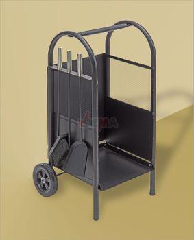 Brennholzwagen Holzwagen 100 inkl. Kaminbesteck 3teilig – Bild 2