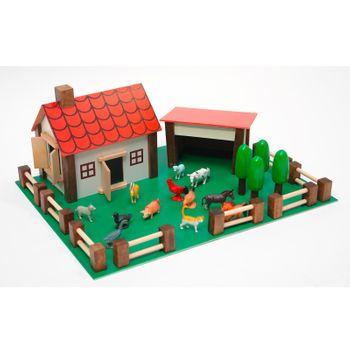 Holzbauernhof Hof Farm Set mit 12 Tieren Stall Holzspielzeug