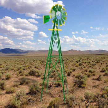 Windrad Gartenwindrad Windmühle Deko Garten Windspiel ø 550mm Grün – Bild 7