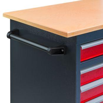 Mobile Werkbank Werktisch Transportwagen rot / anthrazit 5 Schubladen 1Tür – Bild 6