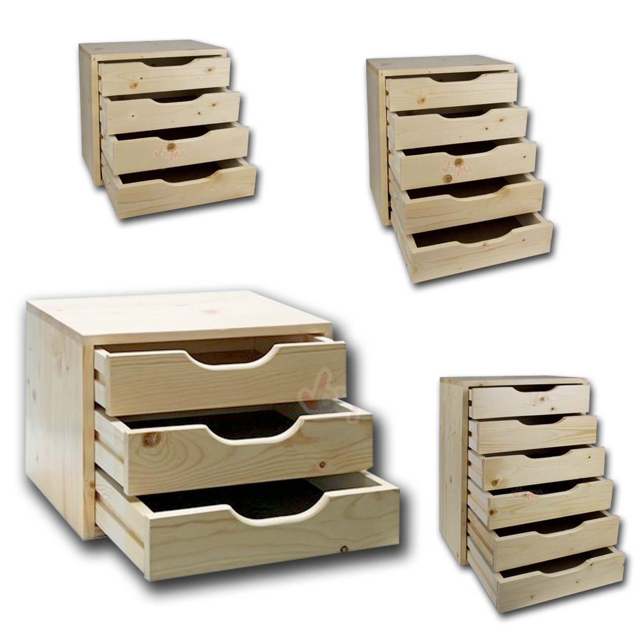 Holz Schubladenbox SB 3 / 4 / 5 / 6 Schubladen