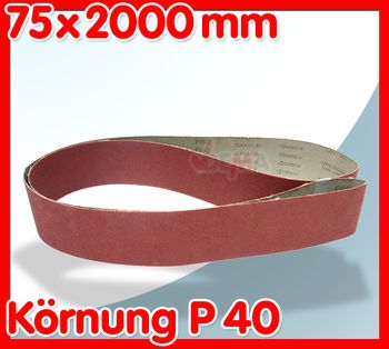 Schleifband Schleifpapier 75x2000 P40 für Bandschleifmaschine Art. 25077 – Bild 2