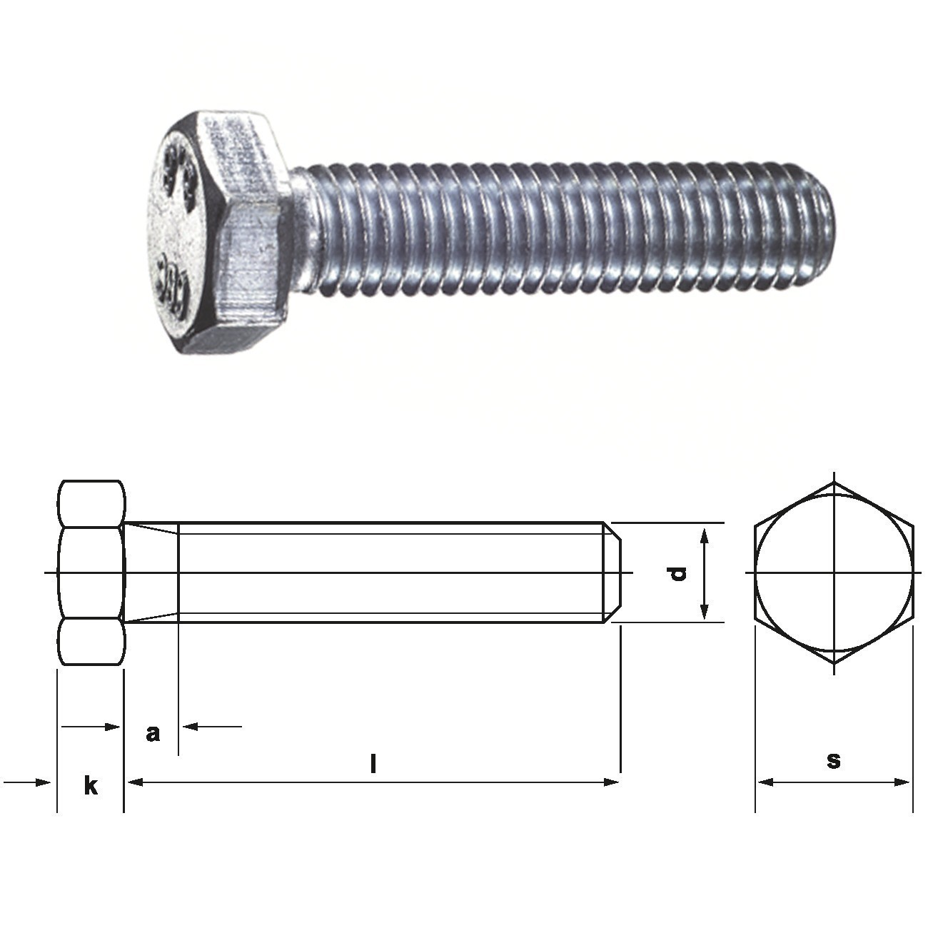 10 Stk Sechskantschraube DIN 933 8.8 M6 x 16 verzinkt