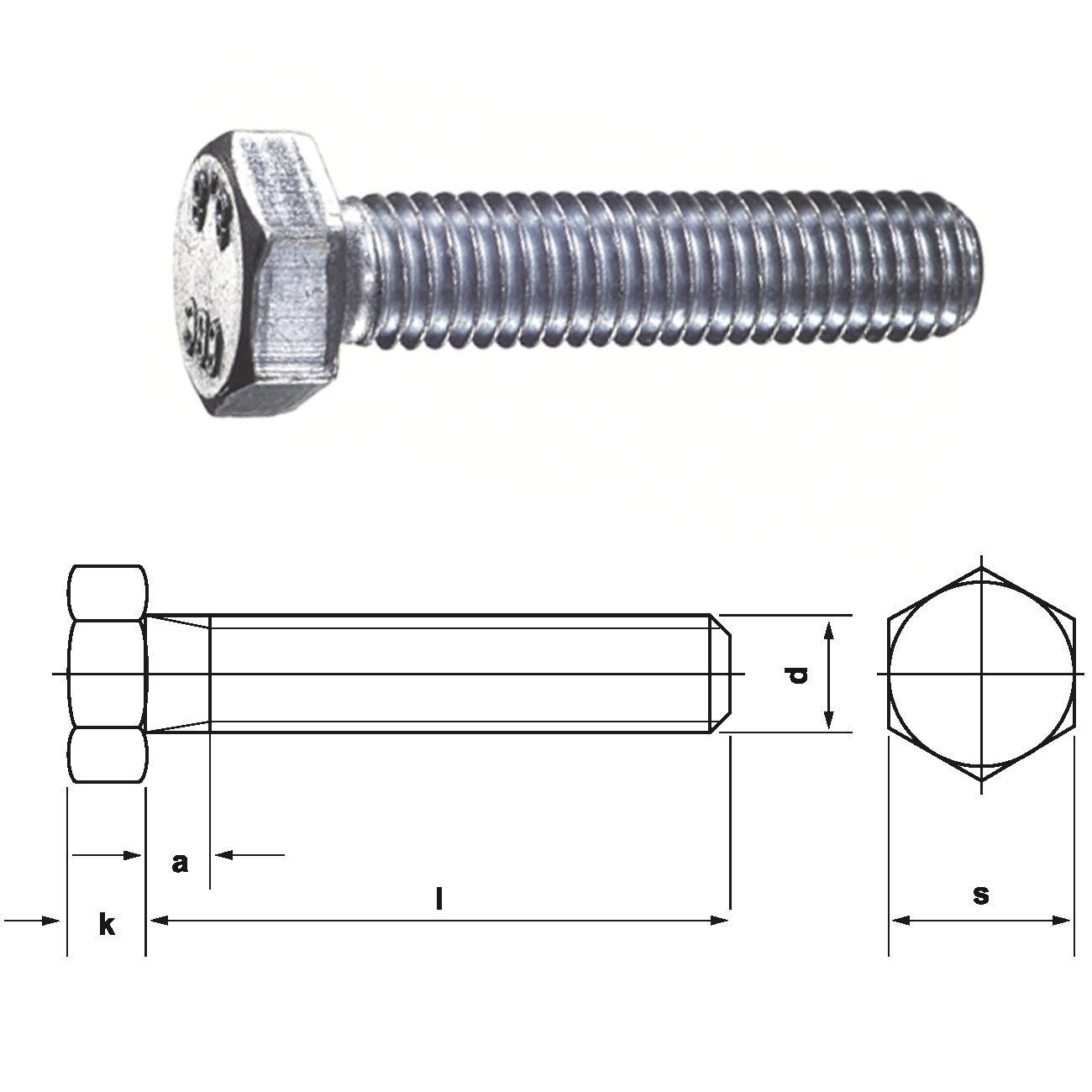 Bauschraube Sechskant 6 Kant Schraube Mit Gewinde Bis Kopf 8 8 Din