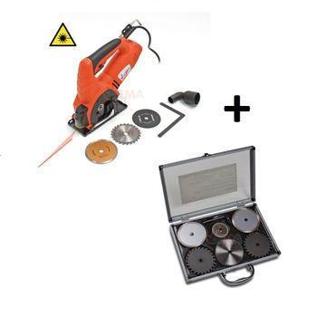 Mini Hand Kreissäge Laser 600 Watt Holz 22 mm inkl. Sägeblatt Set 6tlg. – Bild 1