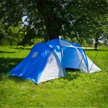 4 Personen Camping Zelt »Action«  450x280x170 cm Familienzelt blau weiß 2x2 – Bild 1