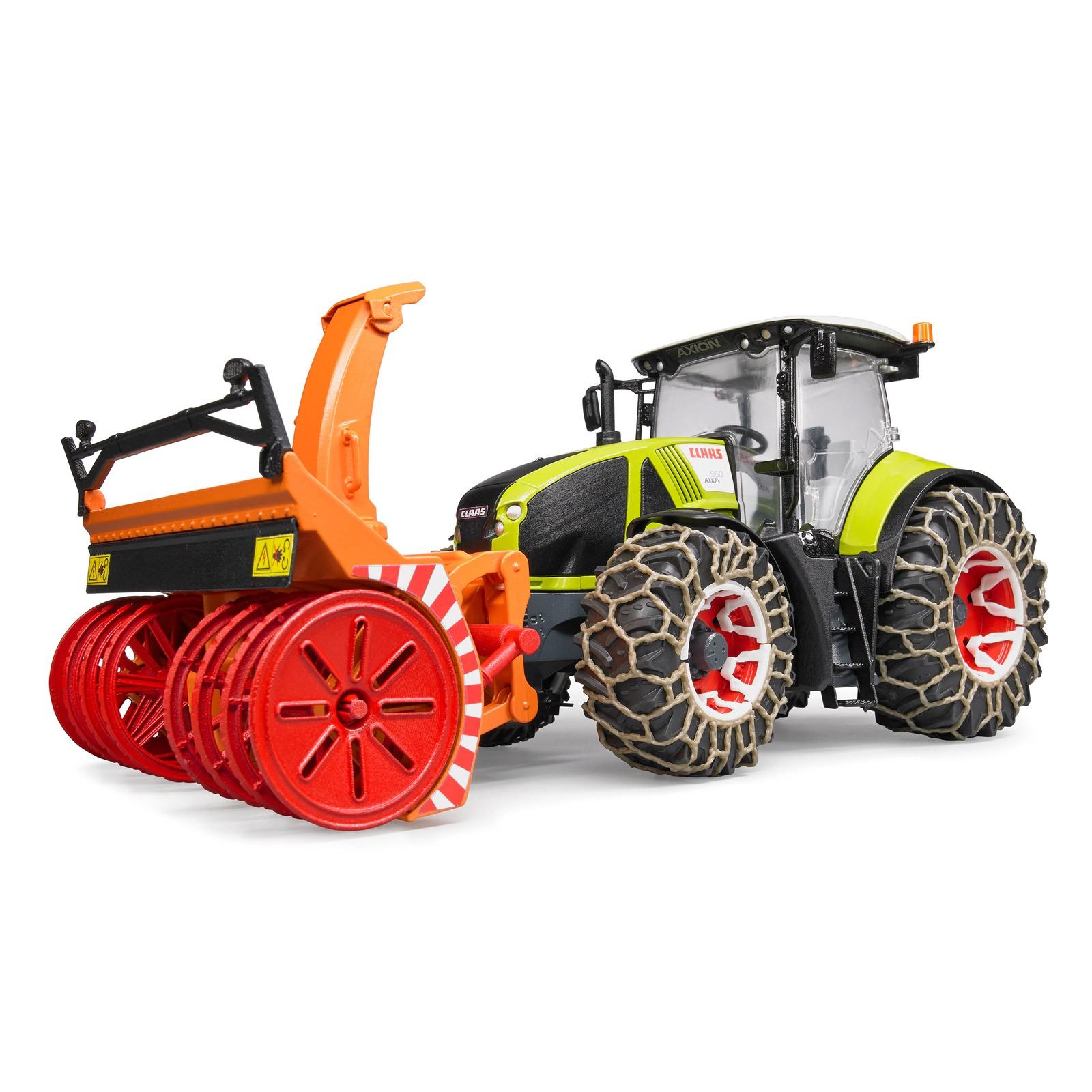 Cxserie 3punkt Schneefräse Traktor Schneefräse: Bruder Claas Axion 950 Mit Schneeketten Und Schneefräse