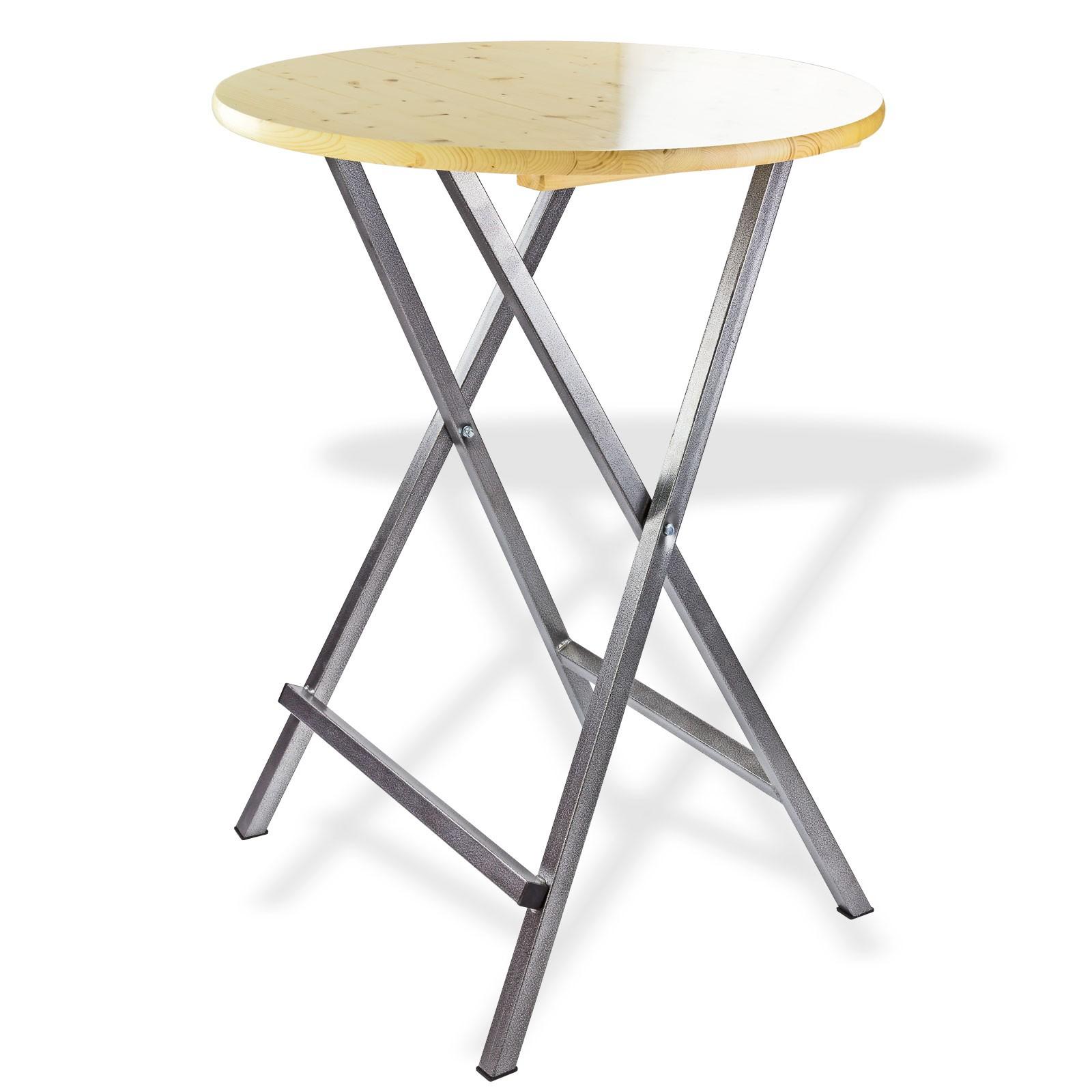 stehtisch klapptisch bistrotisch bartisch tisch rund klappbar mit holzplatte. Black Bedroom Furniture Sets. Home Design Ideas