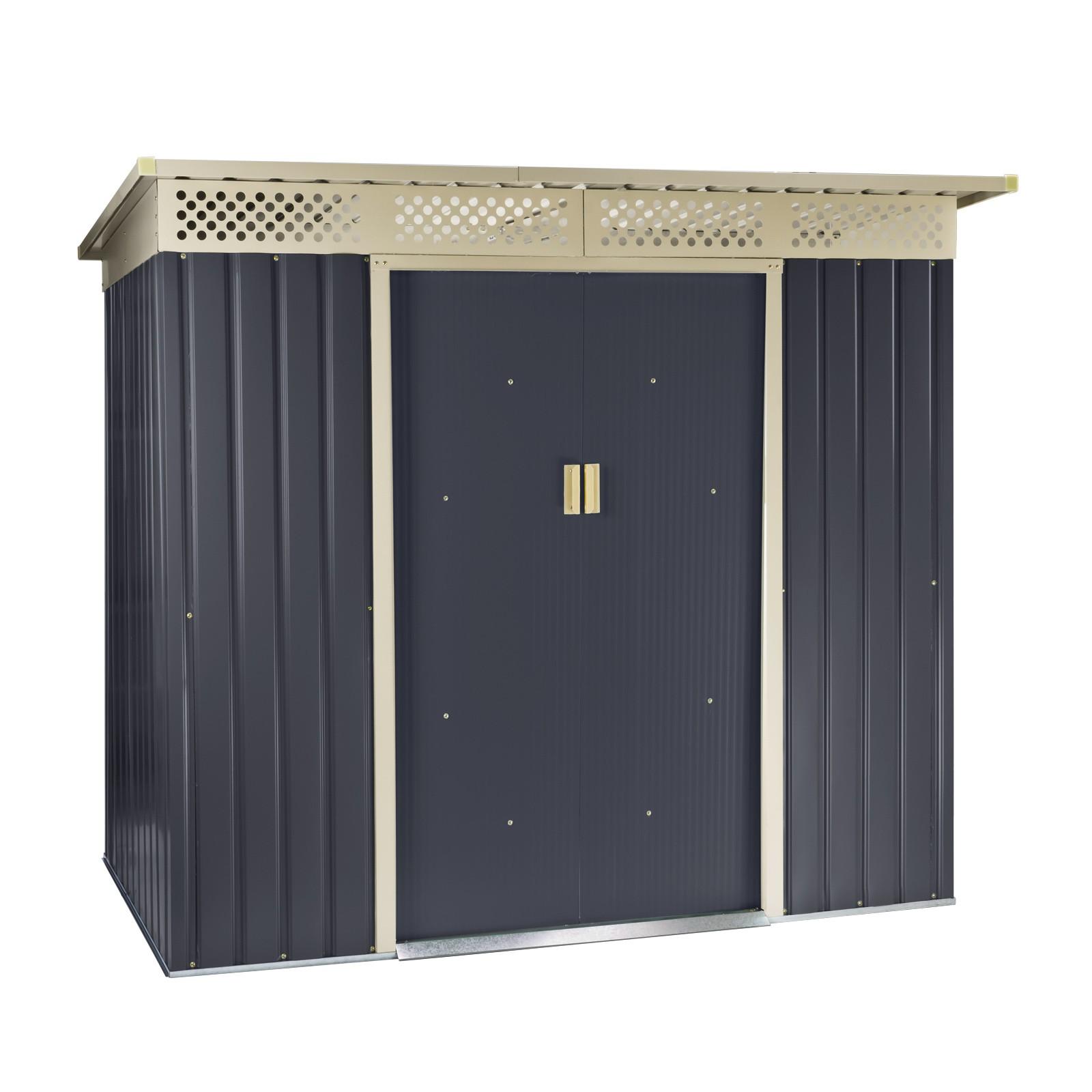 metall ger tehaus bristol anthrazit ger teschuppen gartenhaus pultdach neu 47082 ebay. Black Bedroom Furniture Sets. Home Design Ideas