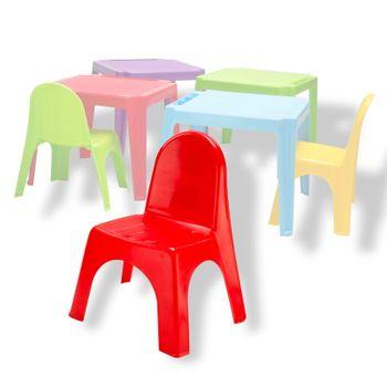 Stapel Kinder Stuhl Kinderstuhl Stapelstuhl Kunststoffstuhl PVC stapelbar rot – Bild 1