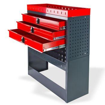 Kfz Transporter Werkstatt Garage Regalsystem Einbauregal Regal 3 Schubladen rot – Bild 2