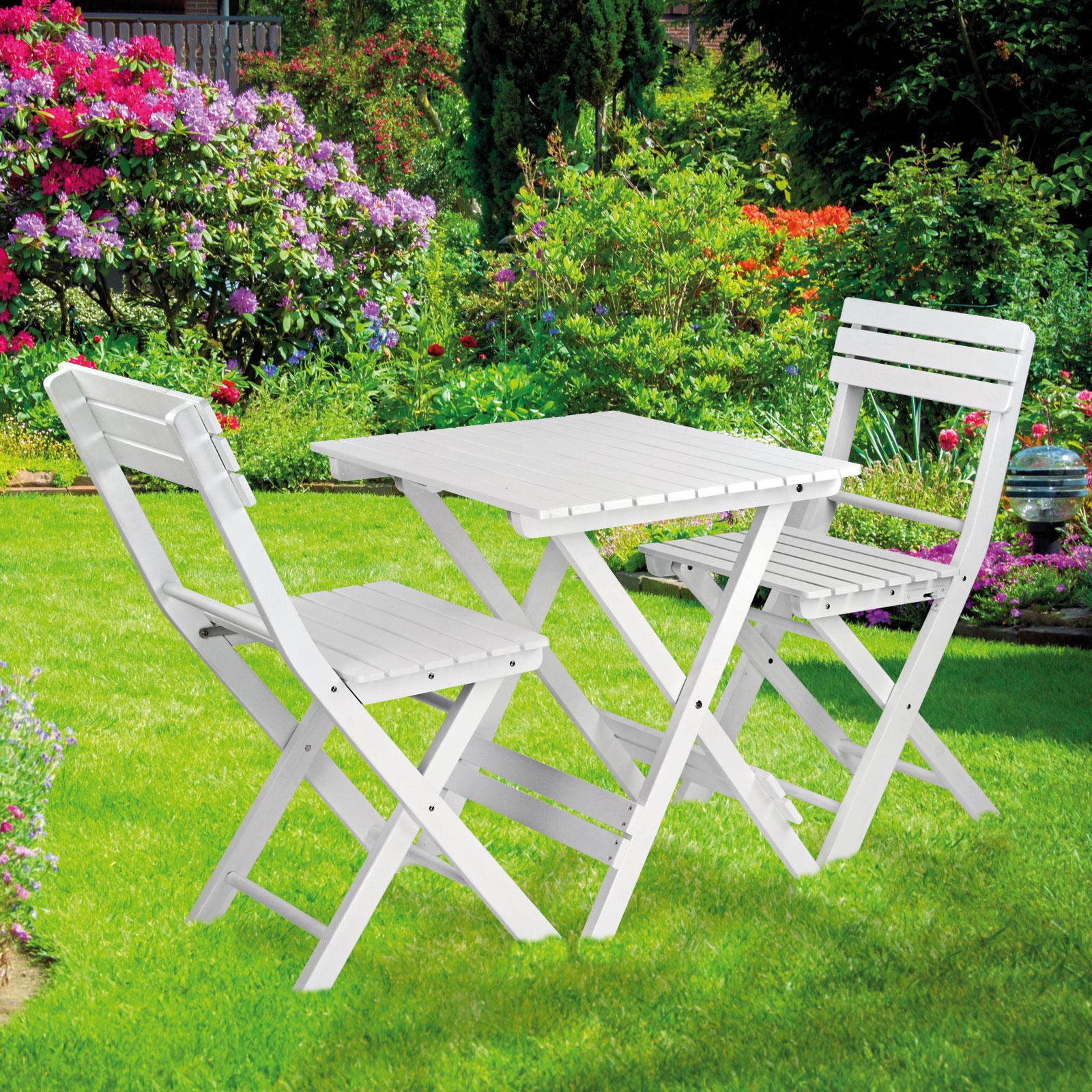 Bistroset Sanremo weiß Balkonmöbel Gartenmöbel 2x Stuhl 1x Tisch ...