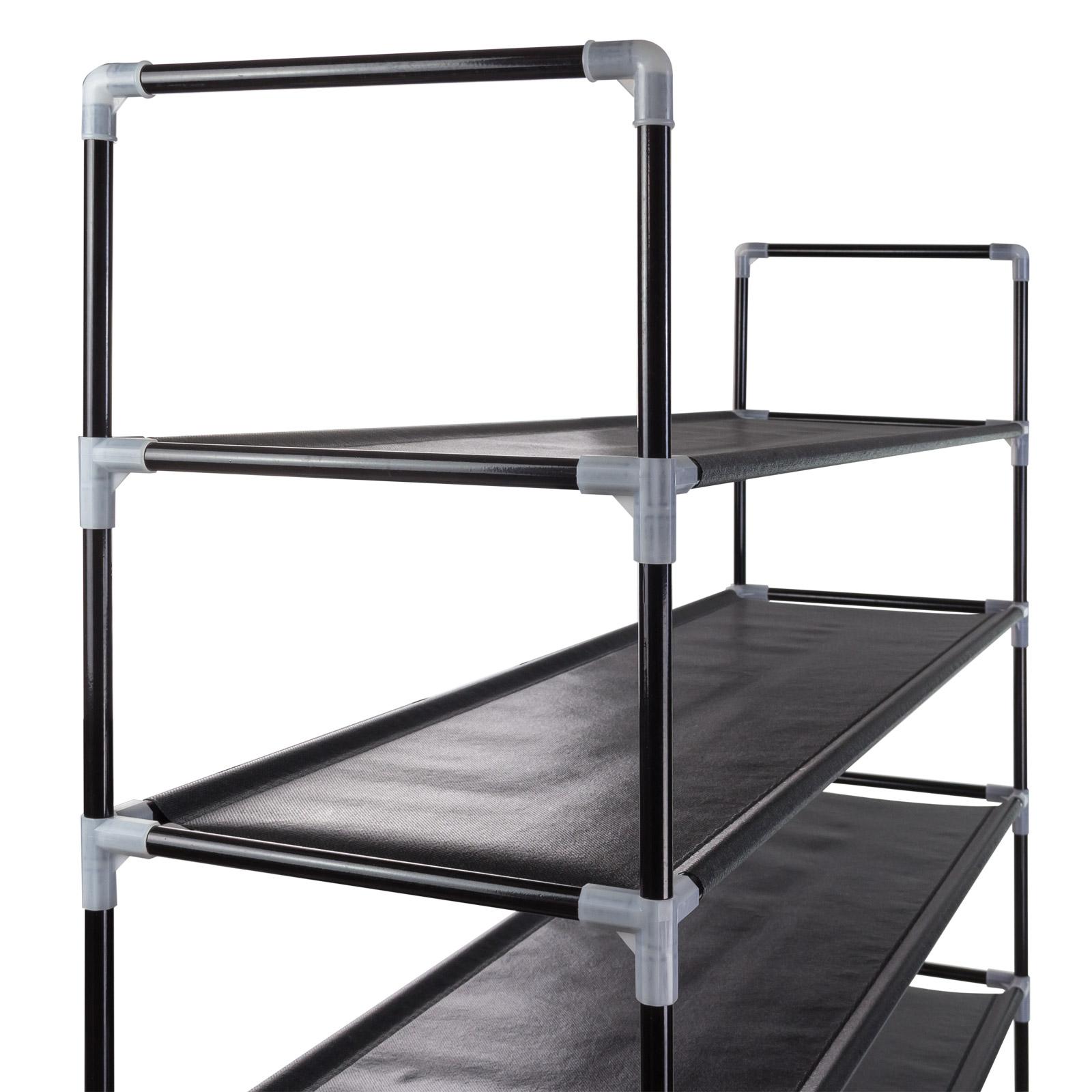 schuhregal regal f r schuhe mit 10 ebenen f chern schwarz anthrazit 100x28x175cm. Black Bedroom Furniture Sets. Home Design Ideas