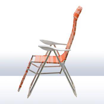 Alu Relaxsessel Hochlehner Gartenstuhl Sunnyvale grün · blau · orange gestreift – Bild 5