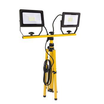 LED Strahler Baustrahler Slim flach 2 x 30 W Watt A+ 2150 lm kaltweiß mit Stativ – Bild 3