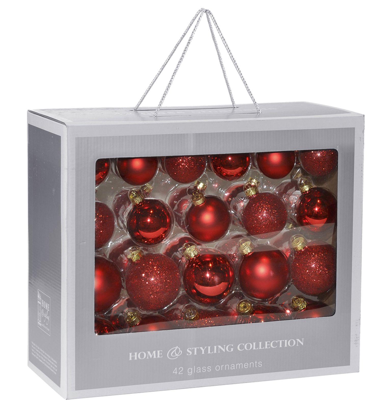 Christbaumkugeln Set Rot.Weihnachtskugeln Set 42tlg Kugeln Christbaumkugeln Baum Schmuck Rot