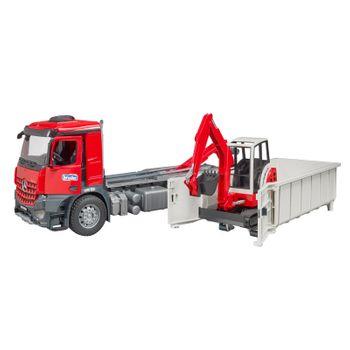 BRUDER MB Arocs LKW mit Abrollcontainer + Schaeff HR16 Minibagger Bagger 03624 – Bild 4