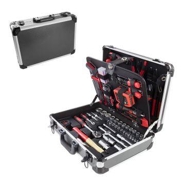Alu Werkzeugkoffer mit Werkzeug 176 tlg Aluminium Werkzeugkasten Werkzeugsset – Bild 1