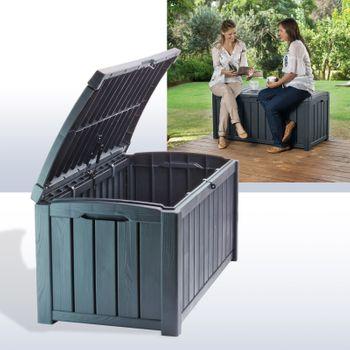 Auflagenbox Kunststoff Gartenbox Gartentruhe Kissenbox Holzoptik Glenwood 390L – Bild 7