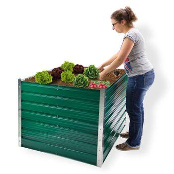 Metall Hochbeet Rosendaal grün 99x99x80 cm 47044 Gartenbeet Pflanzenbeet – Bild 1