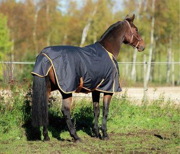 Kerbl Outdoor WinterPferdedecke anthrazit orange eingefasst 300 g – Bild 4